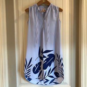 Light blue and navy tropical print dress